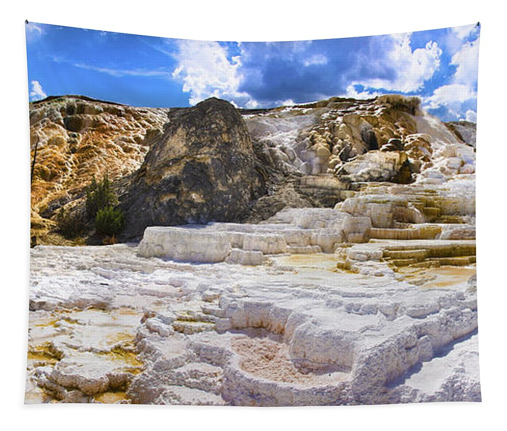 Palette Spring Terrace In Yellowstone National Park Wyoming Tapestry featuring the photograph Palette Spring Terrace Panorama - Yellowstone National Park Wyoming by Brian Harig