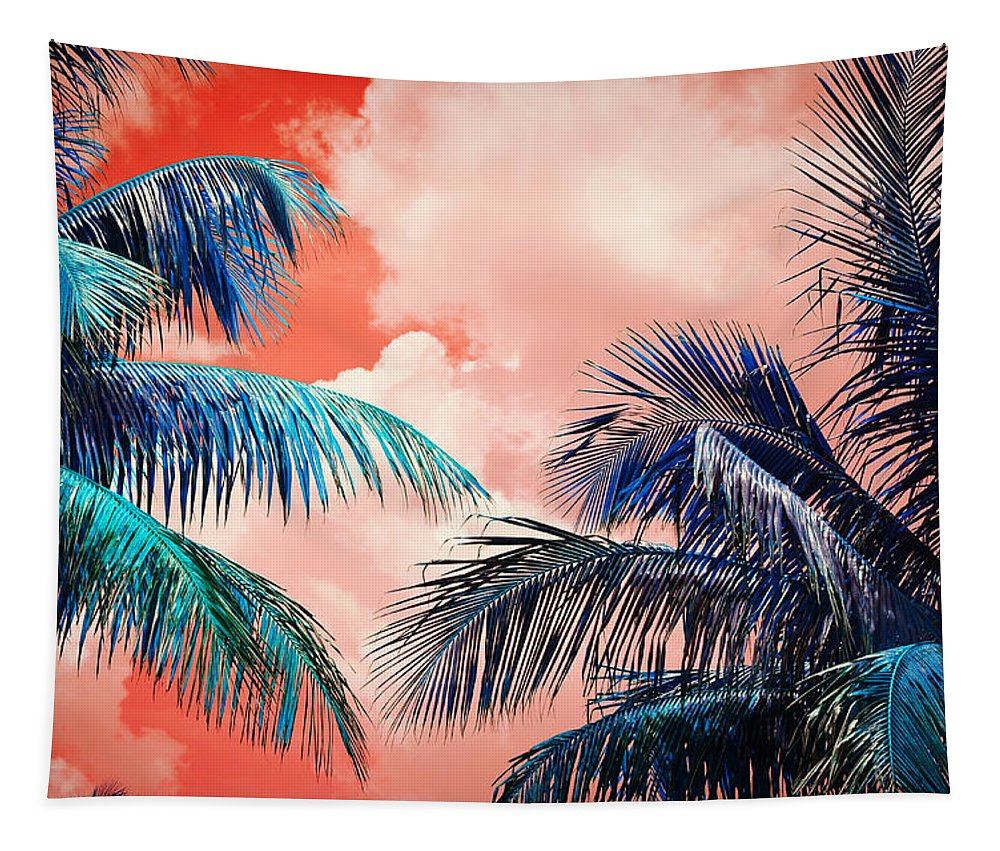 Palmtrees Tapestry featuring the photograph Palmscape Red by Laura Fasulo