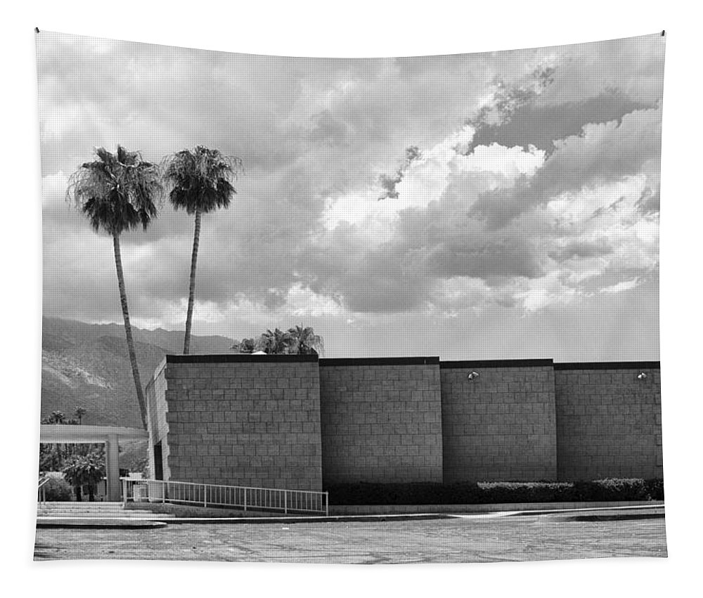 Palm Springs Tapestry featuring the photograph Palm Springs City Hall Bw Palm Springs by William Dey