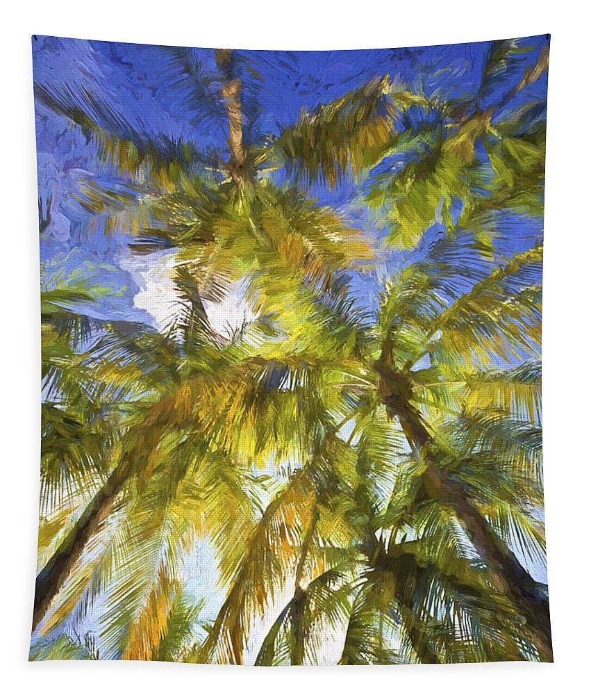 Abstract Tapestry featuring the painting Palm Trees Of Aruba by David Letts