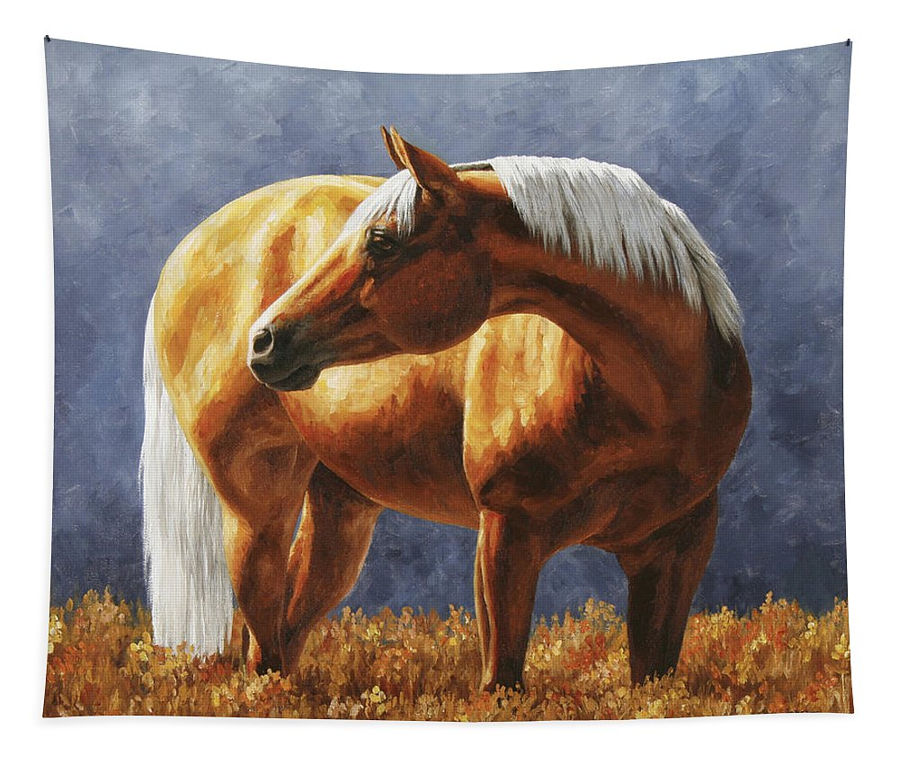 Horse Tapestry featuring the painting Palomino Horse - Gold Horse Meadow by Crista Forest