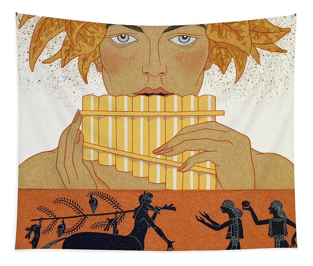 Centaur Tapestry featuring the painting Pan Piper by Georges Barbier