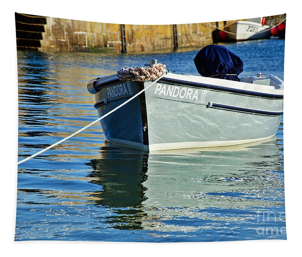 Mousehole Tapestry featuring the photograph Pandora IIi At Mousehole Harbour by Susie Peek