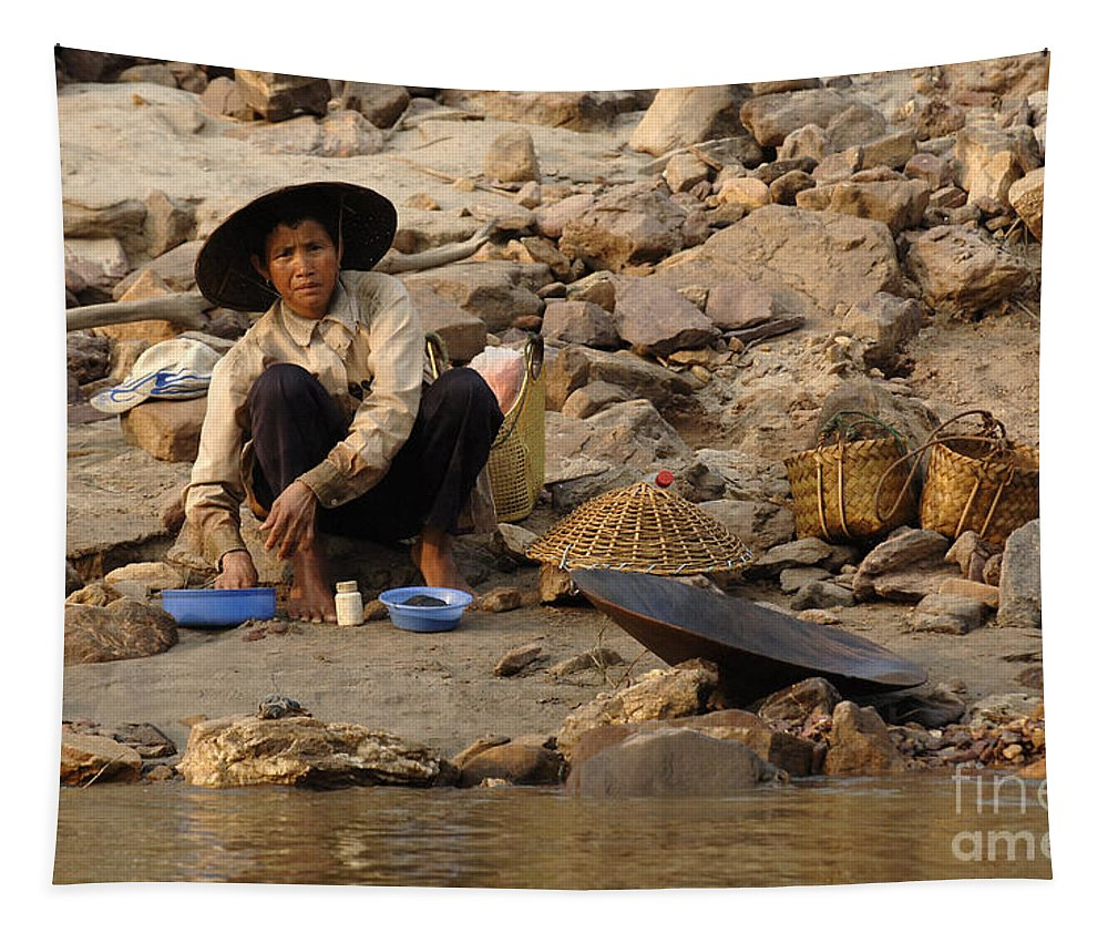 Gold Tapestry featuring the photograph Panning For Gold Mekong River 1 by Bob Christopher