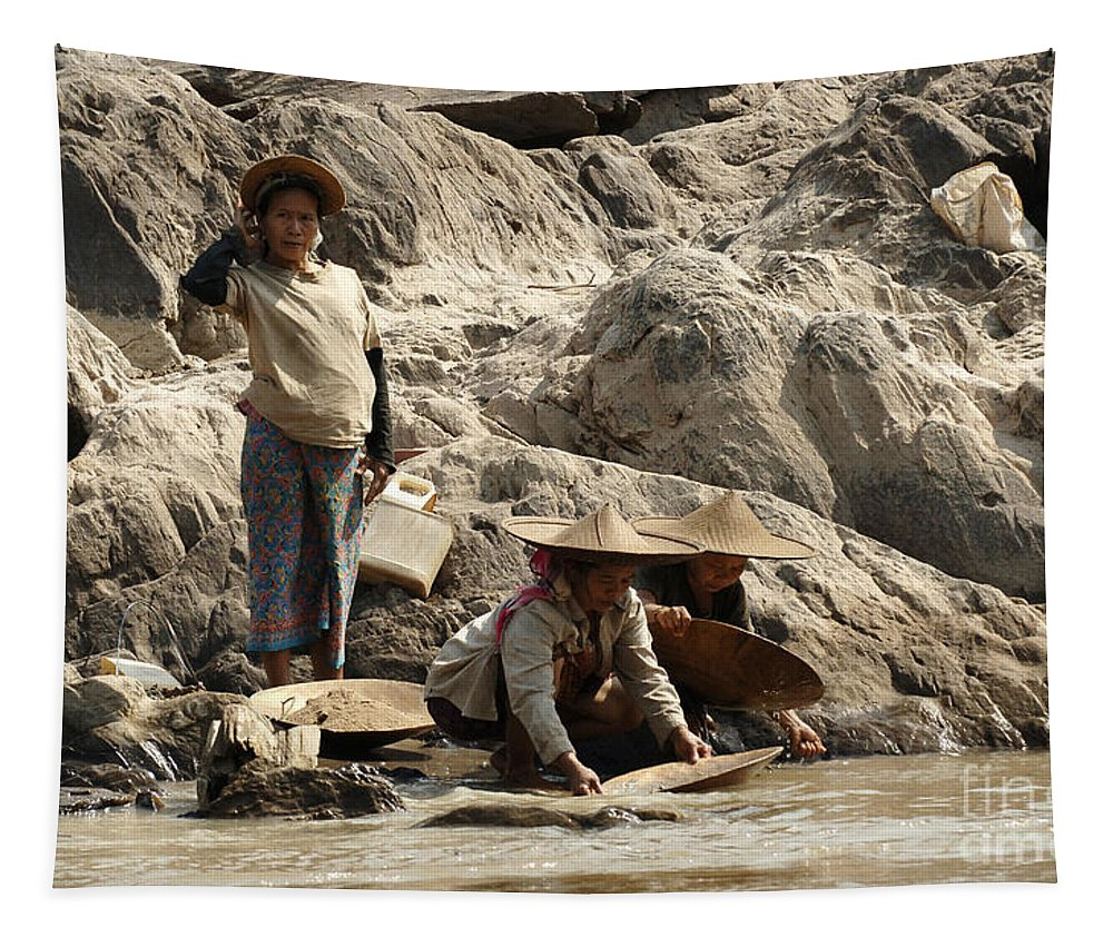 Gold Tapestry featuring the photograph Panning For Gold Mekong River 2 by Bob Christopher