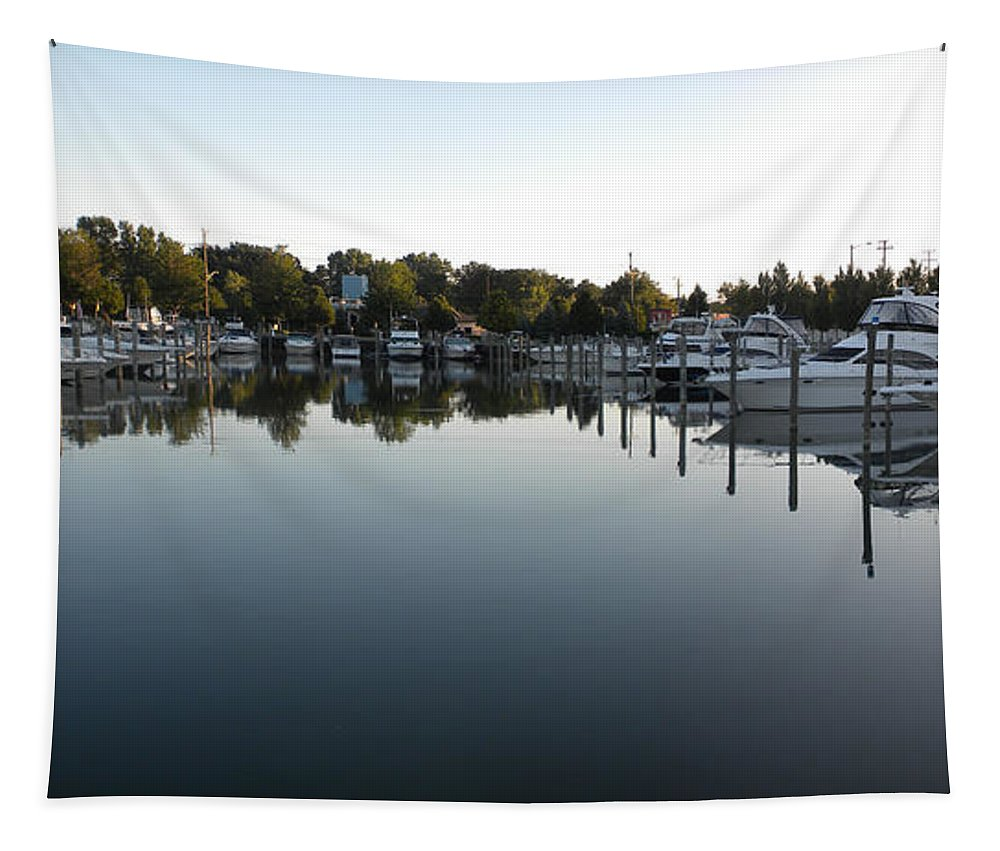 Transportation Tapestry featuring the photograph Panorama Harbor 02 by Thomas Woolworth