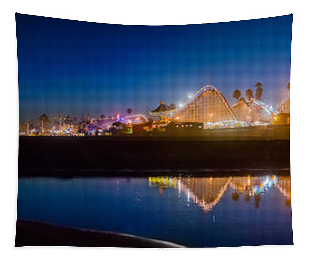 Amusement Park Tapestry featuring the photograph Panorama - Santa Cruz Boardwalk by Scott Campbell