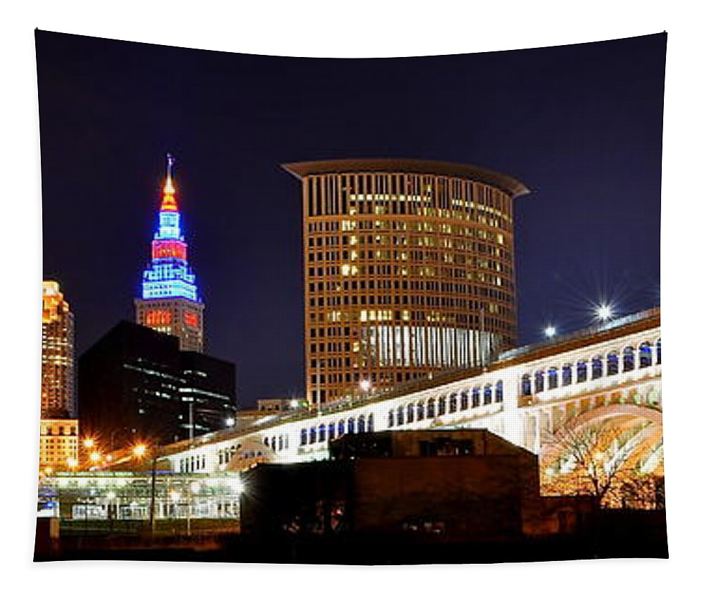 Panoramic Tapestry featuring the photograph Panoramic Cleveland Night by Frozen in Time Fine Art Photography