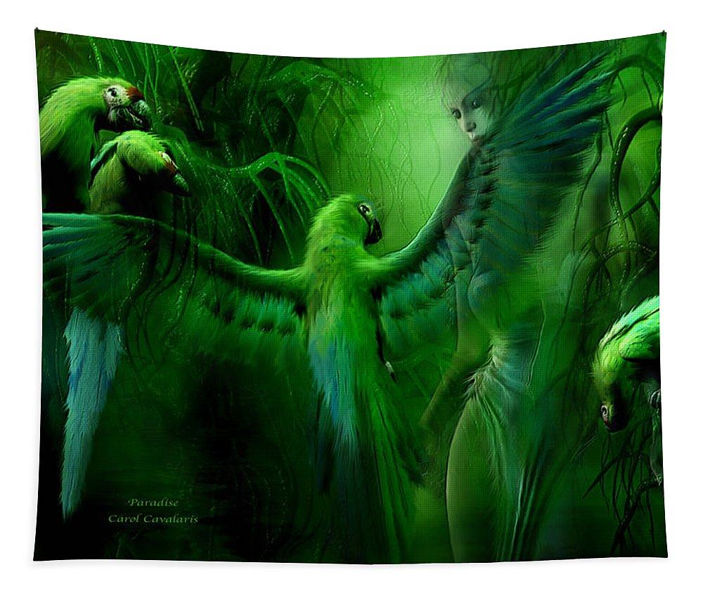Fantasy Art Tapestry featuring the mixed media Paradise by Carol Cavalaris