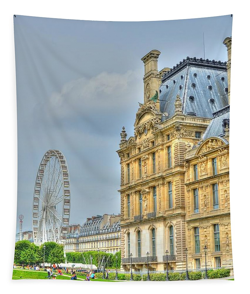 Paris Tapestry featuring the photograph Paris Ferris Wheel by Linda Covino