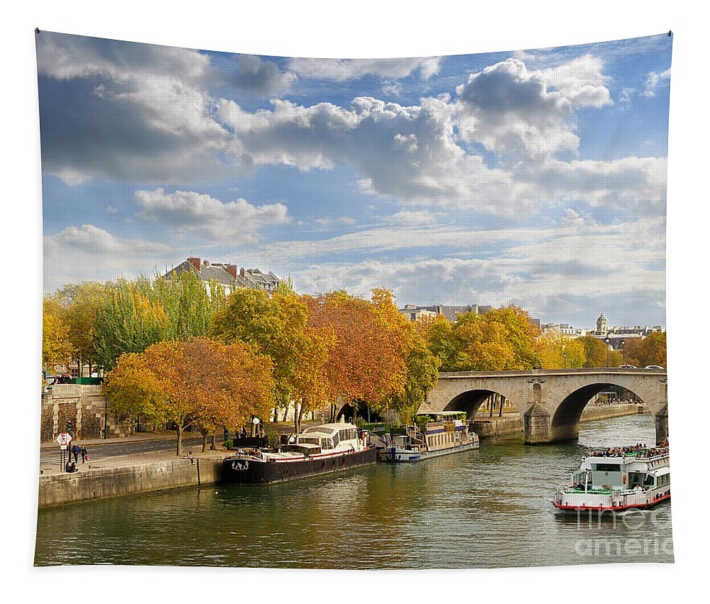 Paris Tapestry featuring the photograph Paris In Autumn by Delphimages Photo Creations