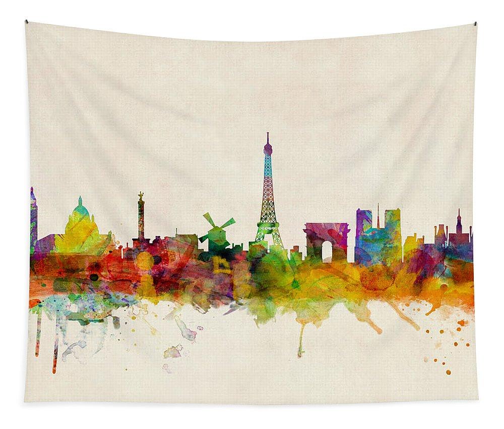 Paris Tapestry featuring the digital art Paris Skyline by Michael Tompsett