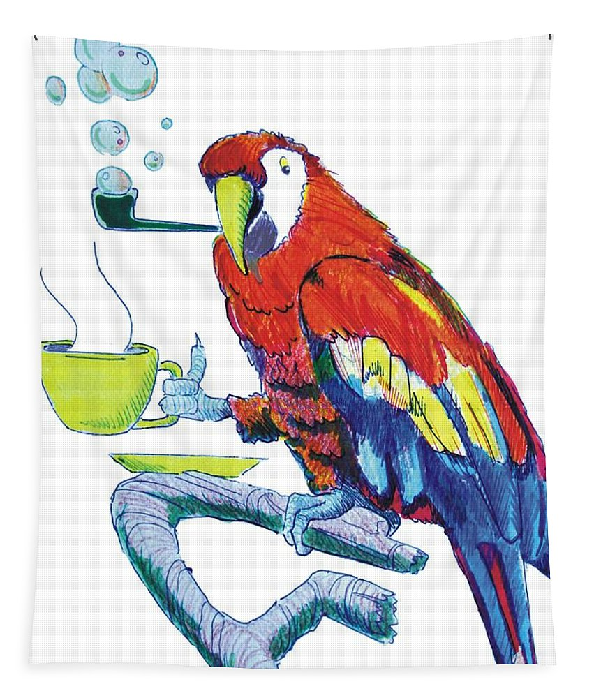 Funny Tapestry featuring the drawing Parrot Cartoon by Mike Jory