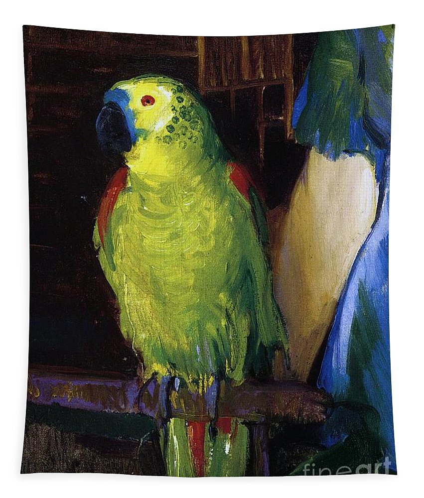 Bird; Pet; Green; Colourful; Tropical; Exotic; Interior; Domestic; Parrot; Birds; Parrots; Colorful; Animal; Oil Paint; Oil Painting; George; Wesley; George Wesley; Bellows; George Wesley Bellows; Animal; Animals; Animal Life; Pets; Pet Bird; Green; Red; Blue; Feather; Feather; Talon; Talons; Atop; Perch; Perched; Beak; Black Beak; Domesticated; Nature; Natural; Wildlife; Owner; Pet Owner; Woman; Arm; Blue Dress; Dress; Pet Owners; Indoor; Indoors; Creature; Living Thing; Alive; Wing; Wings Tapestry featuring the painting Parrot by George Wesley Bellows