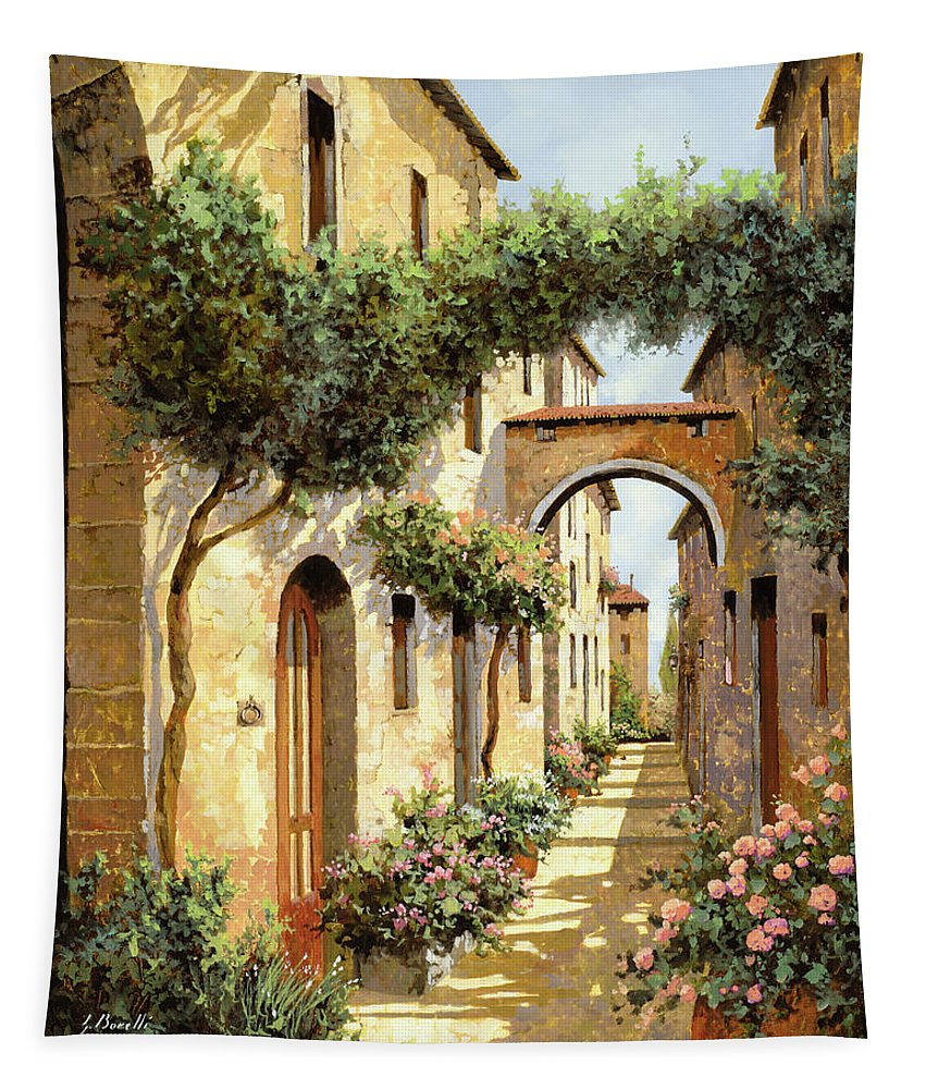 Landscape Tapestry featuring the painting Passando Sotto L'arco by Guido Borelli