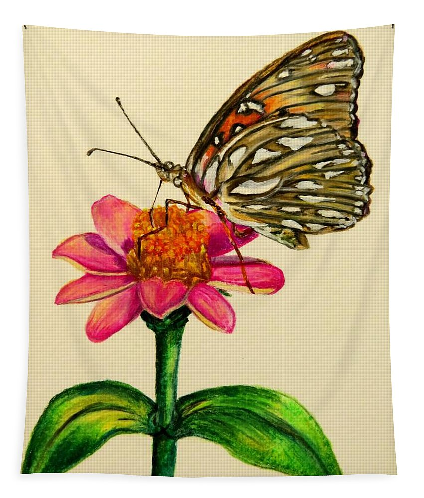 Butterfly Tapestry featuring the drawing Passion Butterfly On Zinnia by Zina Stromberg