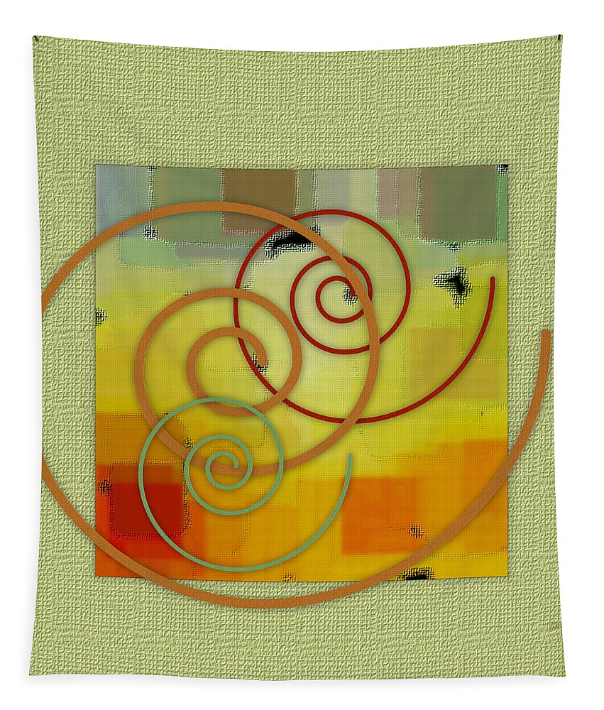 Geometric Abstract Tapestry featuring the digital art Patchwork I by Ben and Raisa Gertsberg