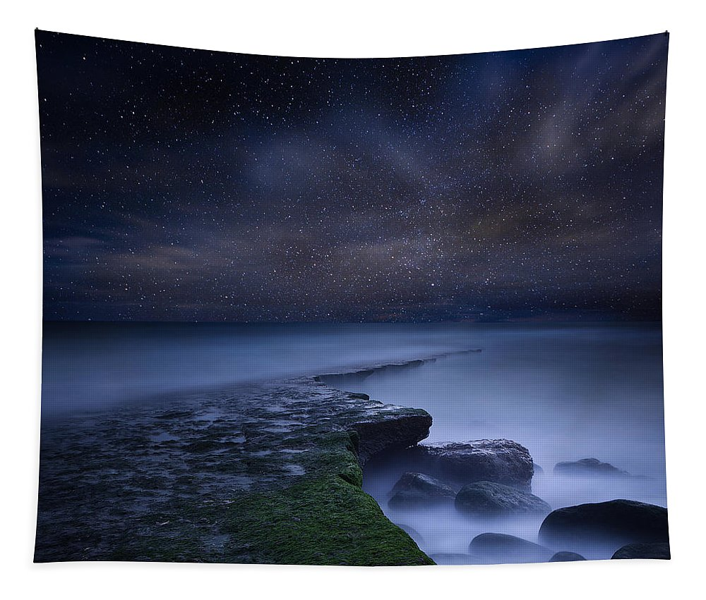Night Tapestry featuring the photograph Path to infinity by Jorge Maia