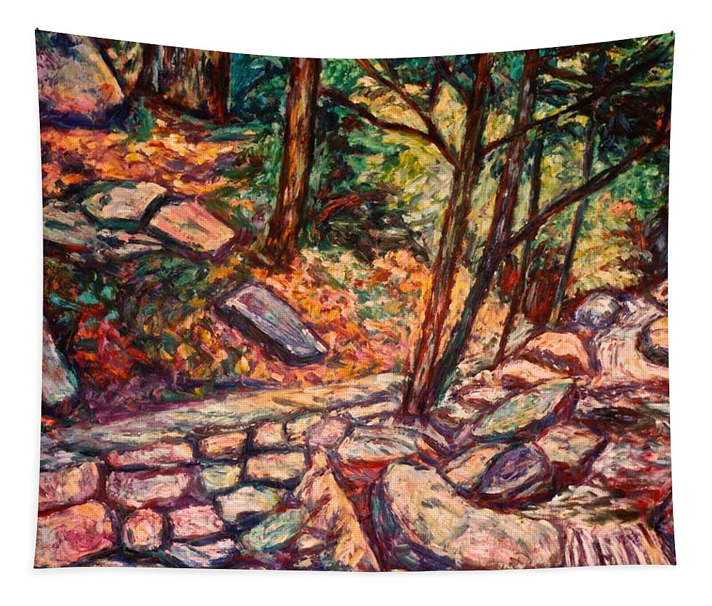 Landscape Tapestry featuring the painting Path To The Cascades by Kendall Kessler