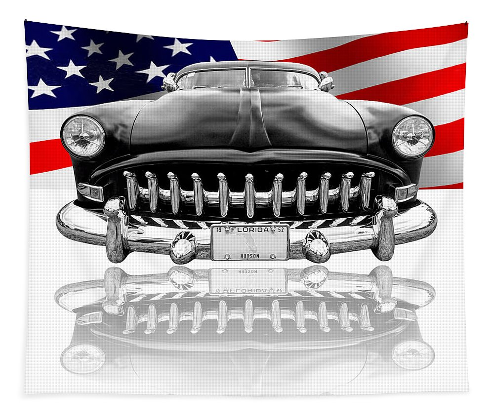 Hotrod Tapestry featuring the photograph Patriotic Hudson 1952 by Gill Billington