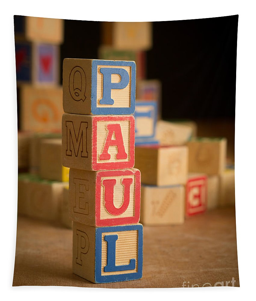 Alphabet Tapestry featuring the photograph Paul - Alphabet Blocks by Edward Fielding