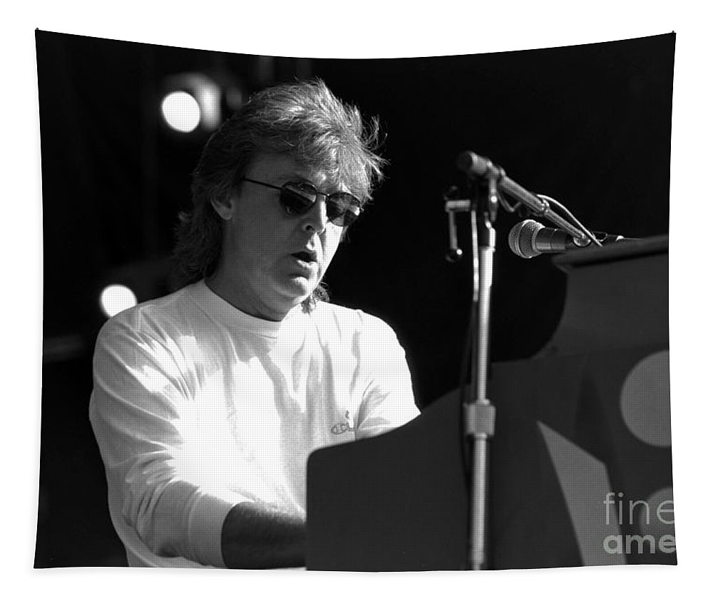 Paul Mccartney Tapestry featuring the photograph Paul Mccartney - Magical Piano by Timothy Bischoff