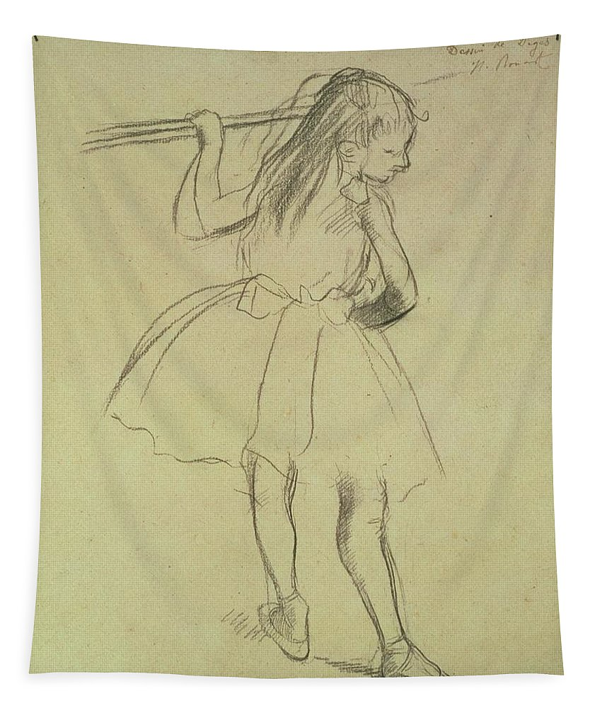 Impressionist Tapestry featuring the drawing Girl Dancer At The Barre by Edgar Degas