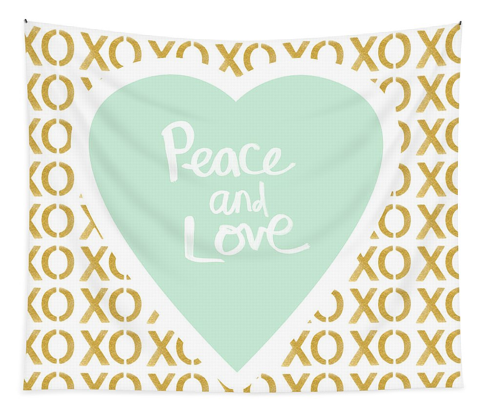 Peace Tapestry featuring the mixed media Peace and Love in Aqua and Gold by Linda Woods