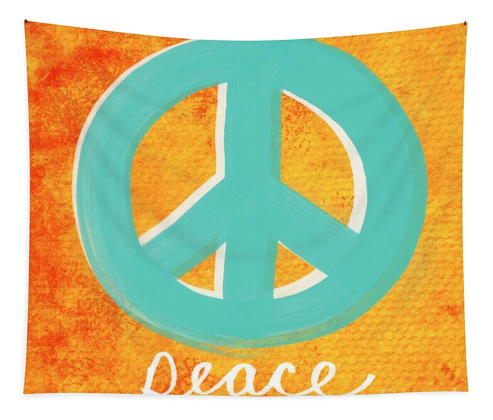 Peace Tapestry featuring the painting Peace by Linda Woods