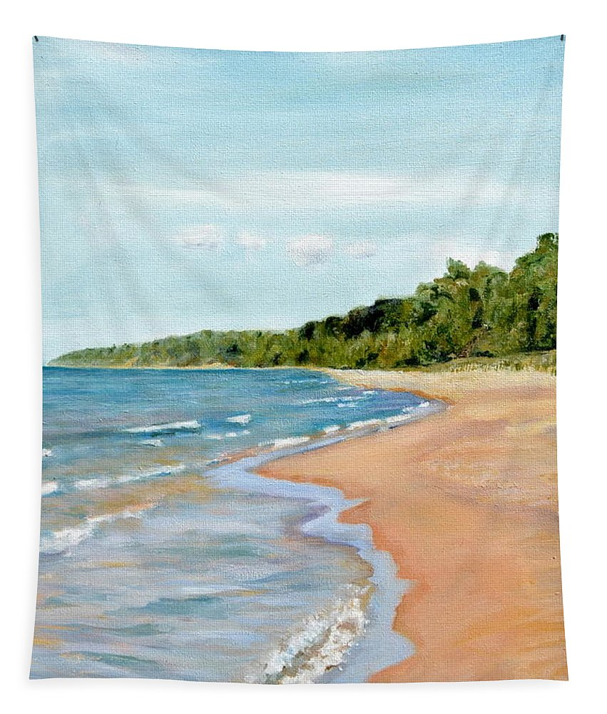 Beach Tapestry featuring the painting Peaceful Beach At Pier Cove by Michelle Calkins