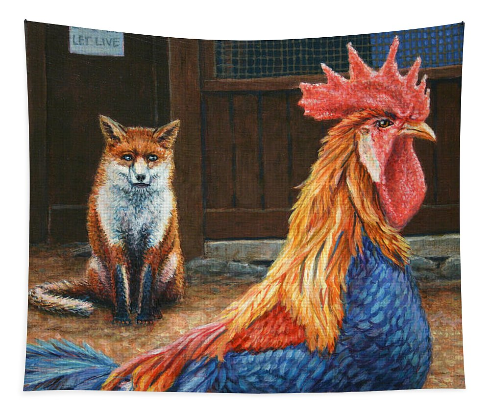 Rooster Tapestry featuring the painting Peaceful Coexistence by James W Johnson