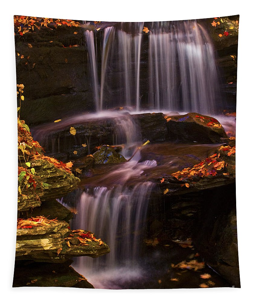 Ricketts Glen Tapestry featuring the photograph Peaceful Little Falls by Paul W Faust - Impressions of Light