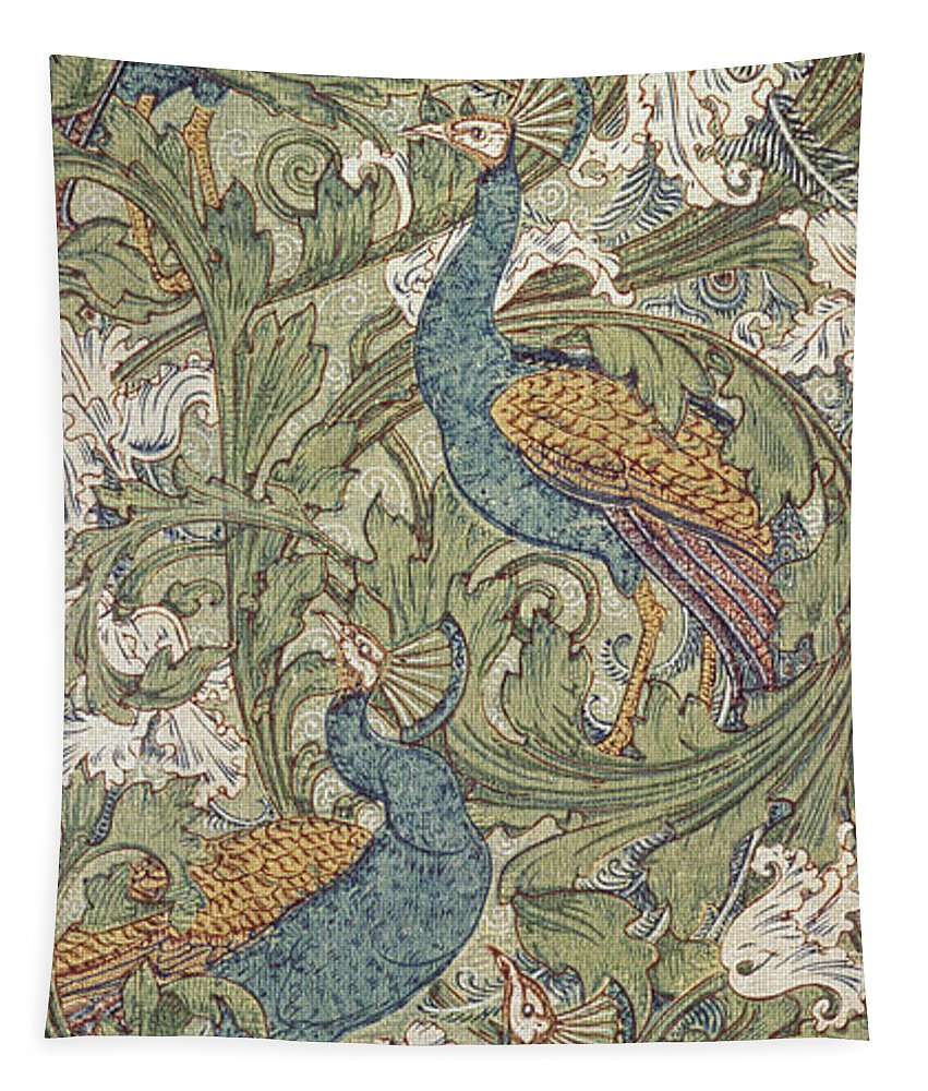 Design; Bird; Paper; Arts And Crafts Movement; Decoration; Peacock; Peacocks; Bird; Birds; Motif; Floral; Wallpaper; Wall; Paper; Peacock; Garden; Garden Scene; Muted Color; Decorative; Decor; Interior Decoration; Interior Design; Designs; Ornate; Ornamental; Cool Tones; Blue; Green; Yellow; Purple; Swirl; Swirling Lines; Repetition; Repeat; Pattern; Patters Tapestry featuring the painting Peacock Garden Wallpaper by Walter Crane
