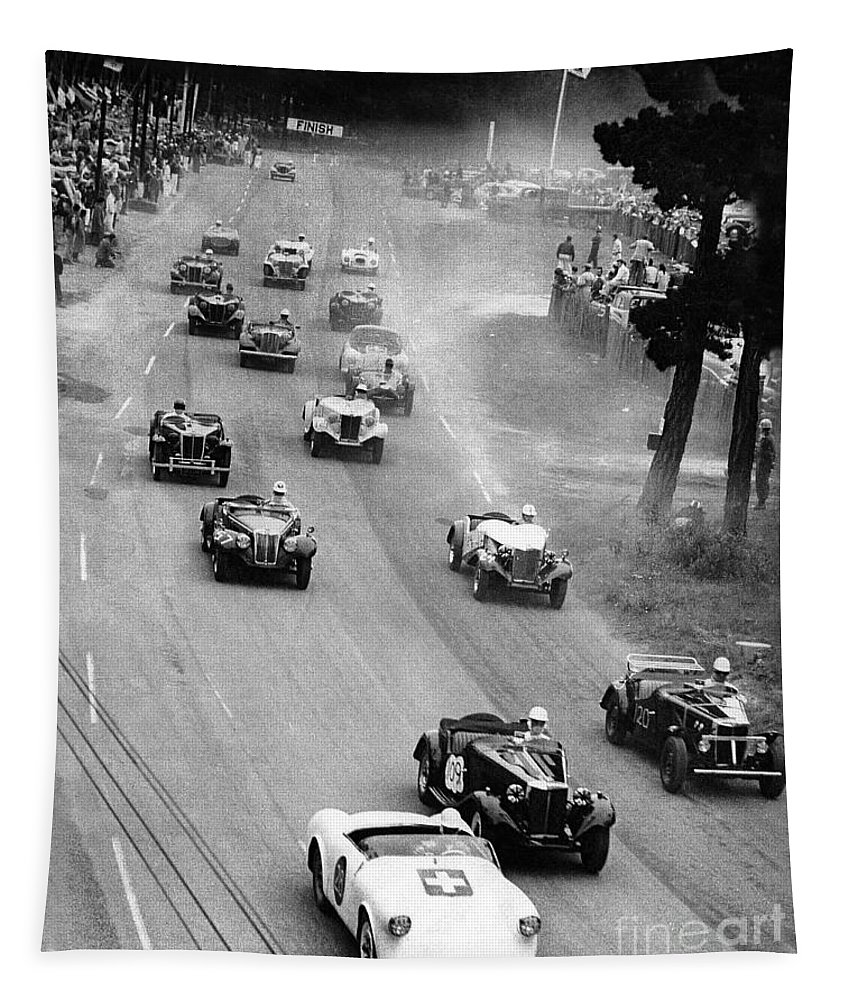 2000-047-0001 Tapestry featuring the photograph Pebble Beach California Sports Car Races Auto Road Race April 11 1954 by California Views Archives Mr Pat Hathaway Archives