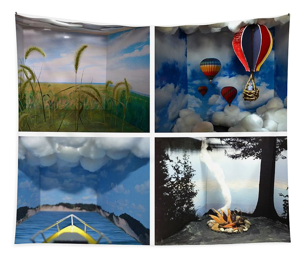 Peepholes Tapestry featuring the sculpture Peepholes by Michelle Calkins