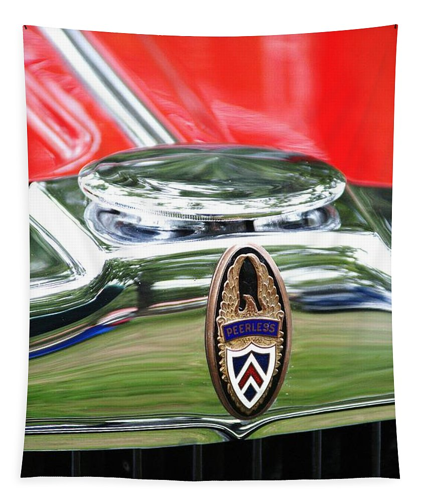 Car Tapestry featuring the photograph Peerless Radiator Emblem by Neil Zimmerman