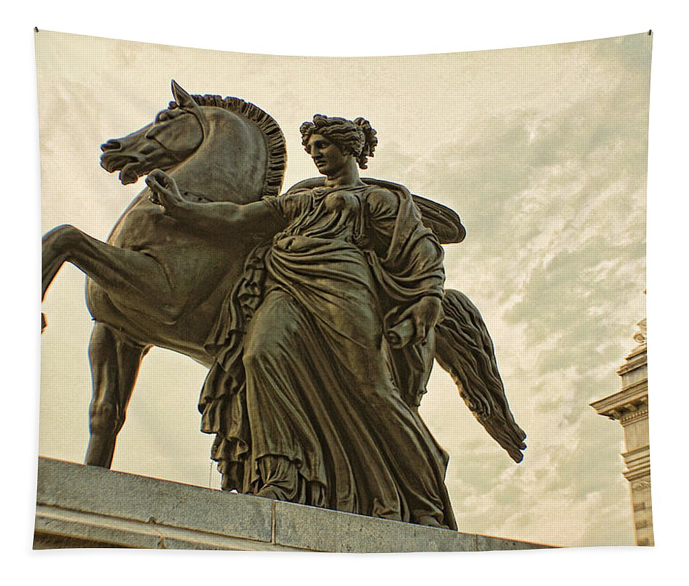 Pegasus Horse Statue Please Touch Museum Philadelphia Tapestry featuring the photograph Pegasus Two by Alice Gipson