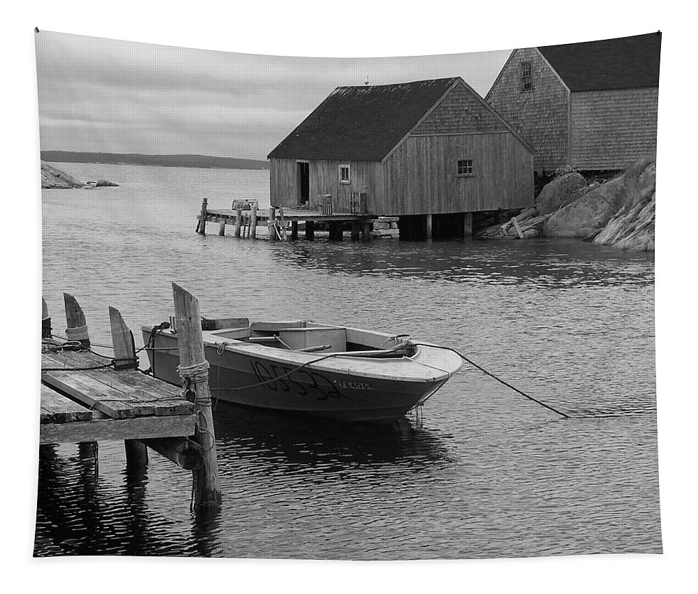 Monotone Tapestry featuring the photograph Peggys Cove In Black And White by Richard Bryce and Family