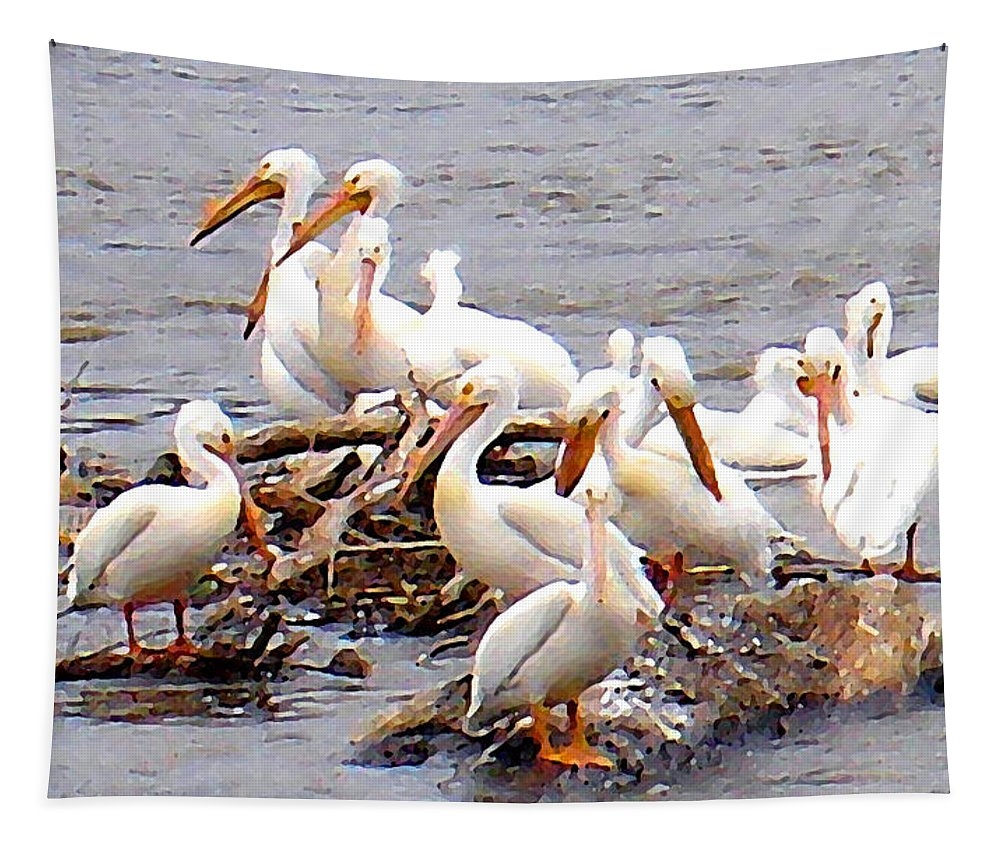 Pelicans Tapestry featuring the photograph Pelican Island by Steve Karol