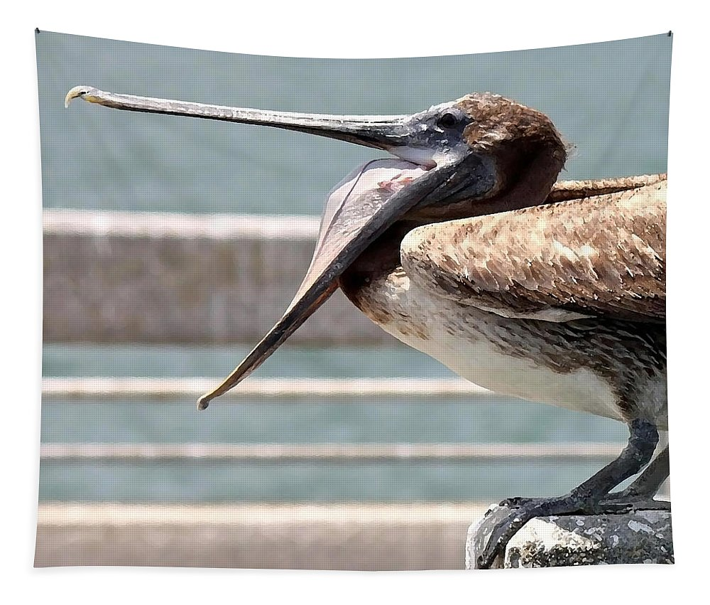 Pelican Tapestry featuring the photograph Pelican Yawn - Digital Painting by Carol Groenen