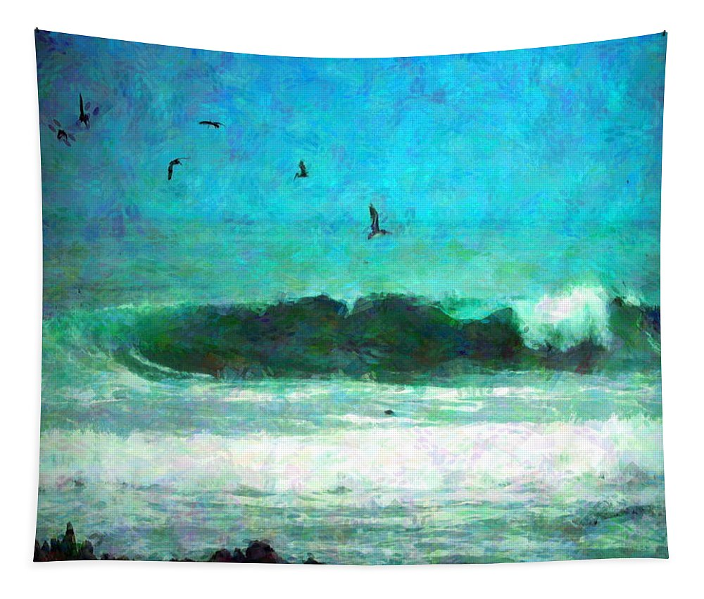 Pelicans Tapestry featuring the photograph Pelicans Enjoying The Mighty Pacific Impressionism by Joyce Dickens