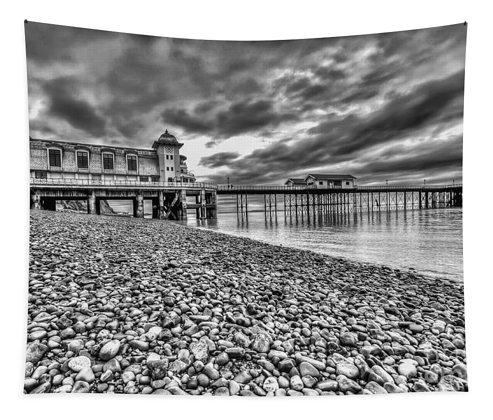 Penarth Pier Tapestry featuring the photograph Penarth Pier 2 Mono by Steve Purnell