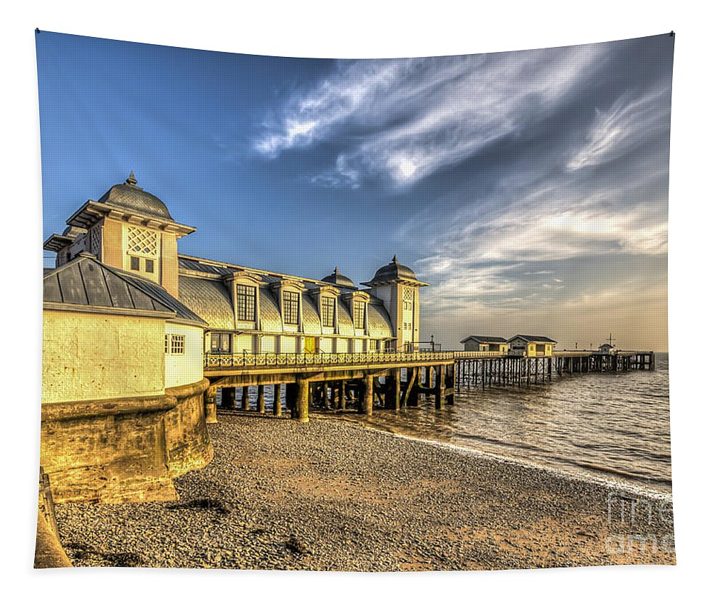 Penarth Pier Tapestry featuring the photograph Penarth Pier Dawn 2 by Steve Purnell