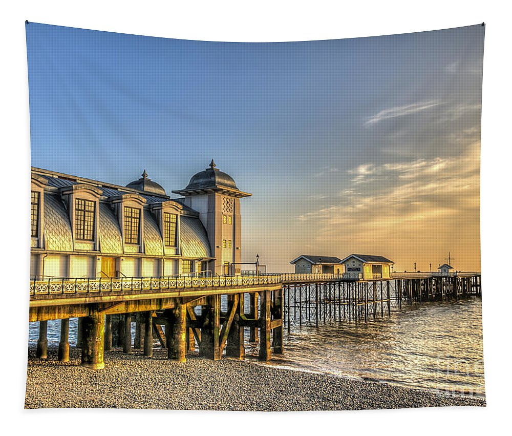 Penarth Pier Tapestry featuring the photograph Penarth Pier Dawn by Steve Purnell