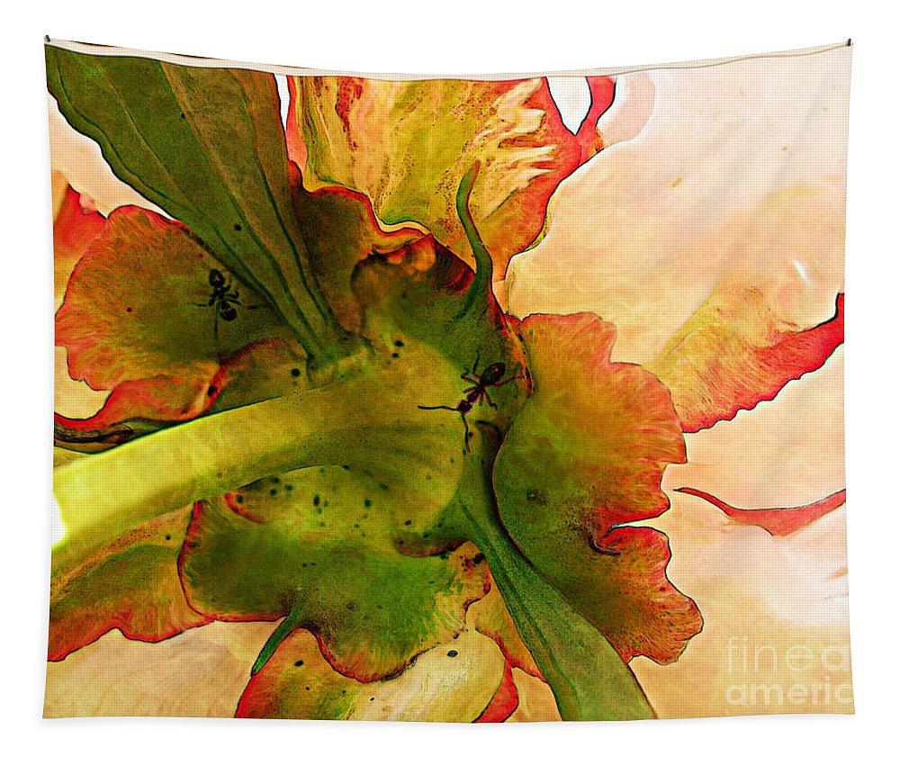Peony Tapestry featuring the photograph Peony Flirt by Jolanta Anna Karolska