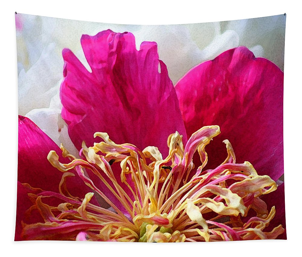 Peony Tapestry featuring the photograph Peony Painterly by Karen Adams