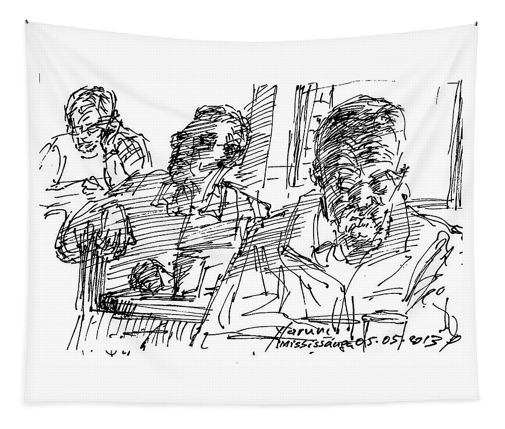 At Tim Hortons Tapestry featuring the drawing People At The Cafe by Ylli Haruni