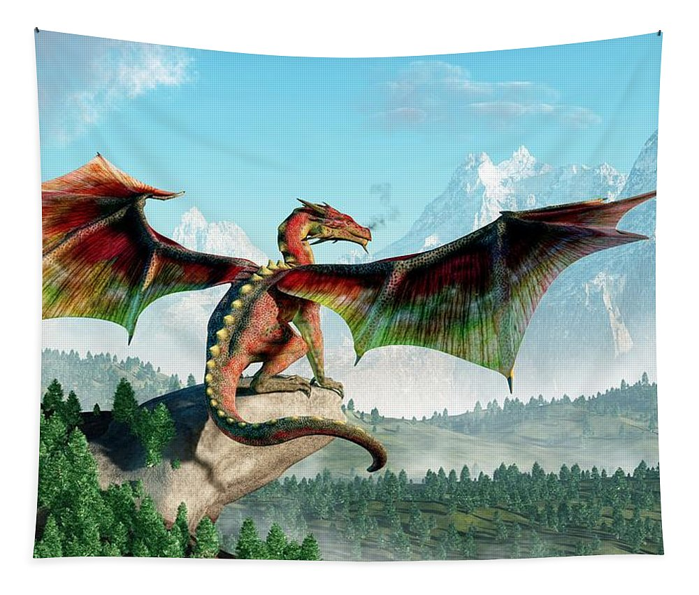 Perched Dragon Tapestry featuring the digital art Perched Dragon by Daniel Eskridge