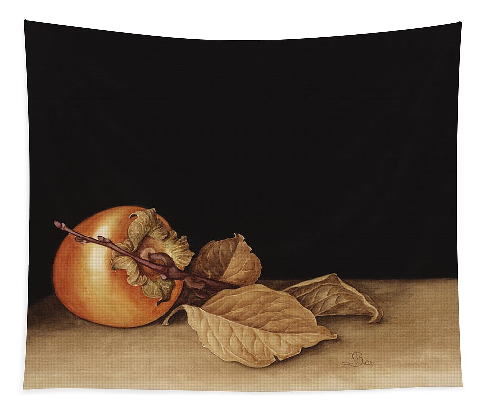Apple Tapestry featuring the painting Persimmon by Jenny Barron