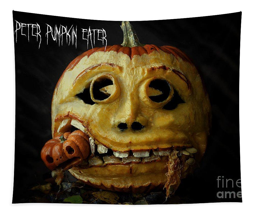 Peter Peter Pumpkin Eater Tapestry featuring the photograph Peter Peter Pumpkin Eater by Wildlife Fine Art